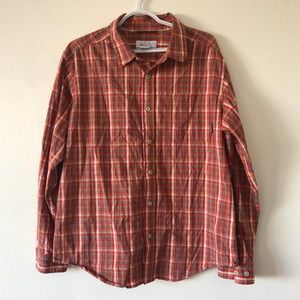 Columbia Red Orange Flannel Button Down Shirt
